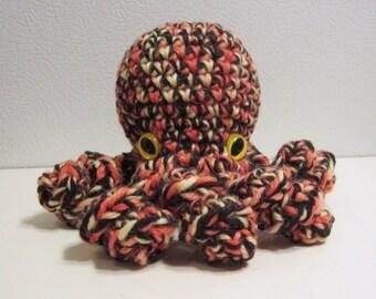 October the Octopus : handmade crochet stuffed orange and black toy