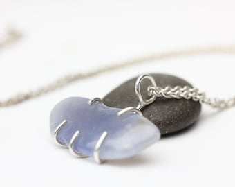 Chalcedony Pendant, Sterling Necklace, Purple Blue Gemstone, Prong Set Chalcedony, Unique Gift