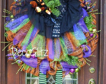 "Large 30"" TUTU Halloween WITCH Wreath with Extra Long LEGS"