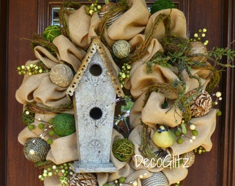 BURLAP and MOSS BIRDHOUSE Wreath
