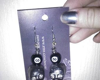 Skulls and 8balls earrings