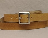 1 1/2 Inch Leather Belt - Custom Fitted - Yellow