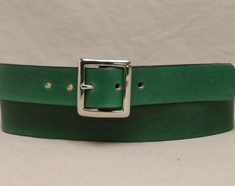 1 1/2 Inch Leather Belt - Custom Fitted - Green