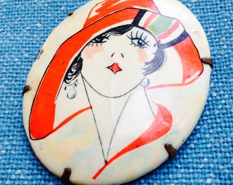 Brooch 1920s Flapper in Hat As Is