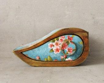Special box, Jewelry storage keepsake drawer vintage wooden box, FREE SHIPPING, Mini box, birds, flowers, blossoming tree