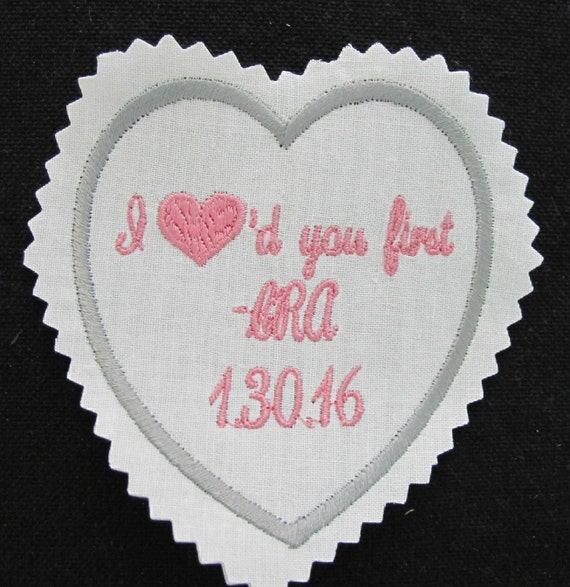 Custom Embroidered Personalized Wedding Day Necktie Label or Patch
