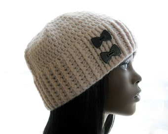 Women's Crochet Hat, Blush Pink Hat, Wool - Blend Beanie Hat, Upcycled Hat, Beanie with Black Bow Buttons, Medium to Large Size