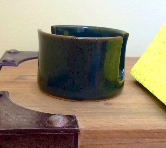 Green Sponge Holder, Handmade Ceramic Pottery Sponge Holder, Rustic Kitchen Pottery