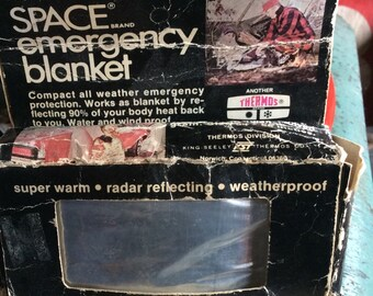 VINTAGE SPACE BLANKET, emergency cover, 1960s, unused, hunting, camping, outdoors protection