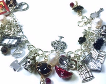 Snow White crystal and pearl charm bracelet