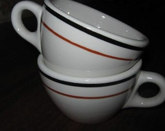 Two Sterling China Black and Rust Stripe Restaurantware Coffee Cups 1979