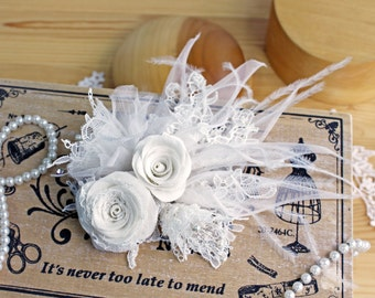 Bridal Lily and Lace Headdress