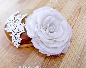 Silk Rose Bridal Headpiece ~ Ivory Flower Hair Clip ~ Floral Fascinator