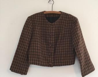 Vintage 80's Cropped Blazer / Brown & Black Plaid Crop Jacket M