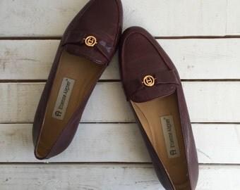 Vintage 80's Etienne Aigner Loafers / Oxblood Burgundy Leather Flats 5.5 6 M