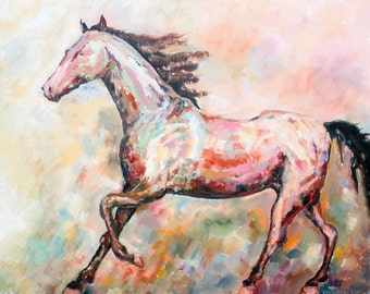 Original painting BROWN HORSE RUNNING, oil on canvas by Elisaveta Sivas, 27,6 x 35,4'