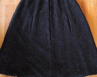 60s black faux Karakul / Astrakhan wool cape
