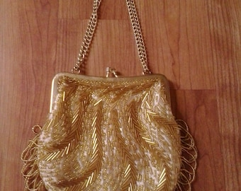 60s gold bead and sequin evening purse