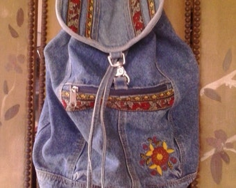80s stone wash denim embroidered back pack