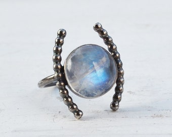 Moonstone Arc Ring, Oxidized Sterling Silver Ring, Rainbow Moonstone Ring, Round Gemstone Ring