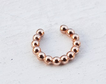 Beaded Faux Septum Ring, Gold Fake Septum, Faux Lip Ring, Rose Gold Filled, Sterling Silver Septum Ring, Gold Nose Ring, Adjustable