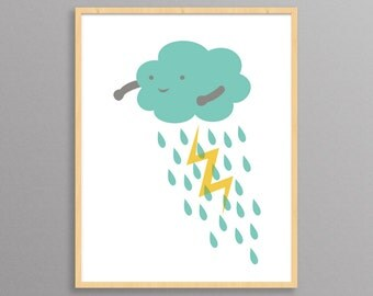 Thundercloud: a modern design print // 8.5x11 or 13x19 // poster for nursery or children