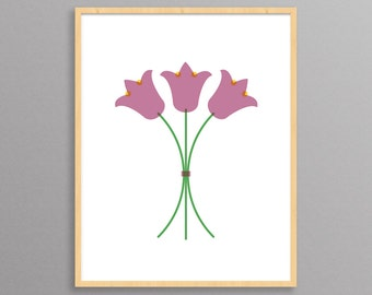 Wildflowers - a modern design print // 8.5x11 or 13x19 // Flowers poster