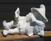 Ceramic Bisque Laying Gnome