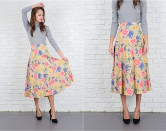 Vintage 80s Beige Retro Skirt Pink yellow Floral Print A Line Small Medium S M 5609
