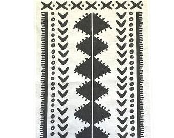 Charcoal Tribal linen Tea Towel