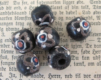 Vintage African Glass Beads 13mm Black w/ Gold Red White Decorations (6)
