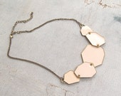 80s Geometric Statement Necklace, Vintage Pale Pink Pastel Enamel Brass Bib Necklace, Stacking Layering Retro Bold Jewelry Gift for Woman
