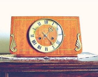 Antique USSR Wood Clock, Mid Century Mantle Gong Clock Mechanical, Mad Men Era Decor