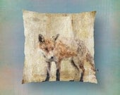 Fox Throw Pillow | Rustic s Animal Print Neutral Colors | Modern Home Decor Product Sizes and Pricing via Dropdown Menu