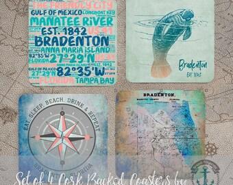 Bradenton, FL Coaster Set: Florida West Coast Beach Style Cork Back Home Accessories