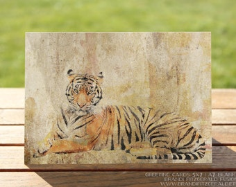 Tiger Greeting Card | Safari Animal Striped Tiger Blank Card | A7 5x7 Folded - Blank Inside - Wholesale Available