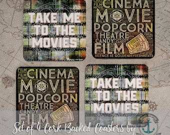 Coaster Set | Take Me to the Movies   Black & Gold Film and Cinema Inspirational Decor | Set of 4 Cork Back | Options at Checkout