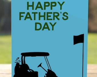 Happy Father's Day Card: Golf Cart Dad Greeting Card | A7 5x7 Folded - Blank Inside - Wholesale Available