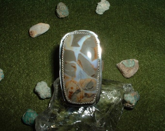Discount Price! Crystal Septarian Gemstone and Sterling Silver Ring, In Your Size with Free USA Shipping, Item 782
