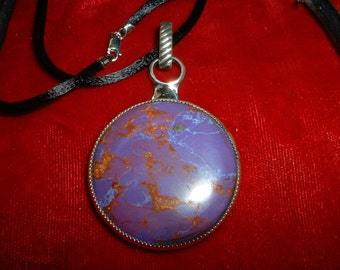 African Purple Blue Turquoise Natural Gemstone and Sterling Silver Pendant, Item 783 Free USA Shipping