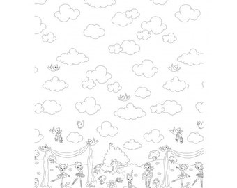 Ballerina Border Print Coloring Fabric from Michael Miller's COLOR ME Collection - In Stock