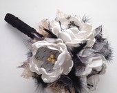 Fabric Bouquet - Small Bouquet - Black and Gold Wedding - Black Feathers, Fabric Wedding Flowers, Fabric Flowers, Cream, Black and Gold