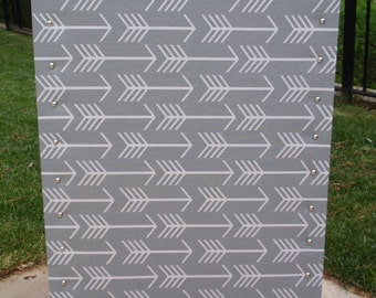 "PinBoard Corkboard Cork Bulletin Message Pin Dream Board 23""x35"", Modern Gray / Grey & White Arrow Fabric with Shiny Silver Chrome Nail Head"