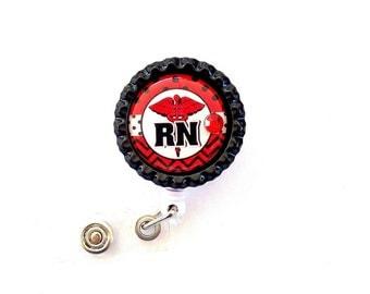 RED RN Nurse Bottle Cap Retractable Badge Holder ID Reel  Worker Badge with Gem
