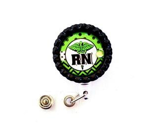 GREEN RN Nurse Bottle Cap Retractable Badge Holder ID Reel  Worker Badge with Gem