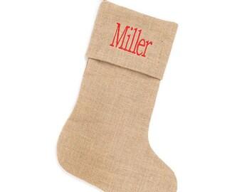 Burlap Christmas Stockings, Monogrammed Christmas Stockings, Personalized Christmas Stockings, Burlap Stocking