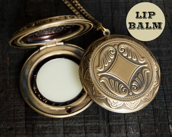 Lip Balm Locket Necklace  - Victorian Gold Brass - Choose Your Flavor - 2g