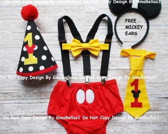 Mickey Mouse Birthday cake smash outfit FREE Ears costume suspenders baby clubhouse hat diaper cover bow or I am one tie 9 12 18 24 toddler