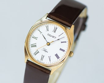 Mint condition men's wrist watch Poljot, quartz watch unisex, gold plated quartz watch, modern city fashion watch, premium leather strap new
