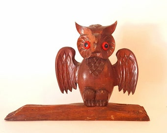Vintage Carved Owl Wooden Owl Home Decor Halloween Decor Owl Sitting on Branch Wise Owl Scary Owl Hooting Owl Halloween Home Decor